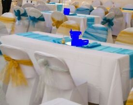 various party/wedding decor, table skirt, table and chair covers