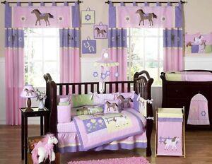 Unique Designer Pink Western Horse Pony 9pc Baby Girl Crib Bedding Comforter Set
