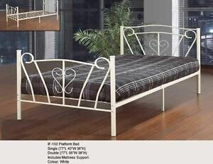 LORD SELKIRK FURNITURE - SINGLE METAL PLATFORM BED FRAME IN OFF WHITE