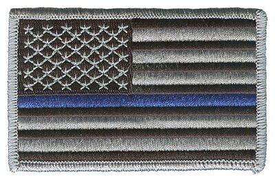 "IRON-ON US flag 3.5"" stars left black/gray blue line police patch JEFF-H-AMG"