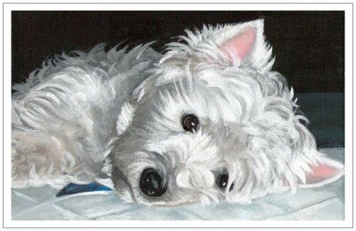 Holiday Christmas Sympathy card set Westie from original painting art dog