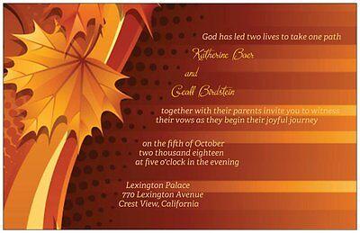 30 50 80 100 Vintage FALL AUTUMN Colors Leaves  5X7 WEDDING Invitation Custom - Autumn Wedding Colors