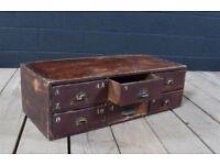 Industrial vintage bank of drawers