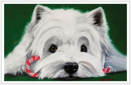 Holiday Christmas Greeting card set Westie terrier dog original painting art