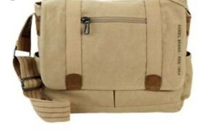 FOSSIL 'OCTANE' Mens Canvas Messenger Laptop Bag