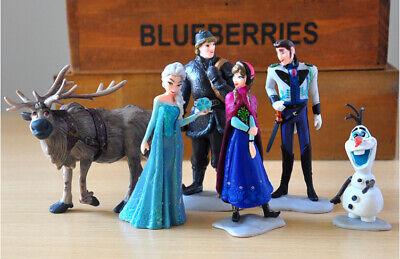 Frozen Princess Cake Toppers 6Pcs Disney Figures Elsa Olaf Anna Kristoff Sven  ()