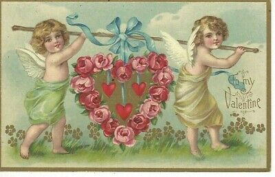 ANTIQUE EMBOSSED VALENTINE Postcard   TWO CUPIDS CARRYING HEART OF ROSES ON POLE