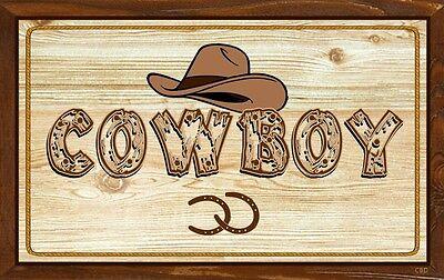 (Cowboy)  WALL DECOR, DISTRESSED, RUSTIC, PRIMITIVE, HARD WOOD, SIGN, - Cowboy Wall Decor
