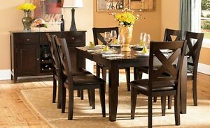 Counter or dining, table and 6 hardwwod chairs, Mango collection