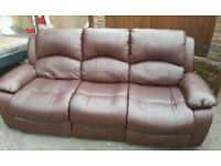Brown 3 seater leather recliner sofa