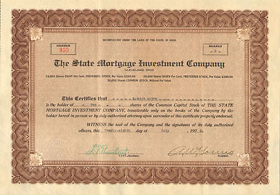 The State Mortgage Investment Company   1926 Cleveland Ohio Stock Certificate