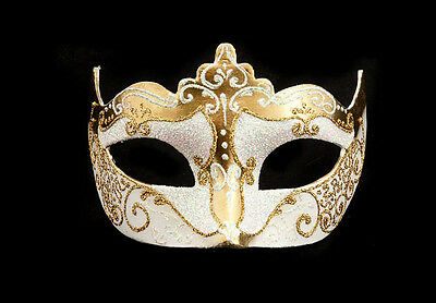 Mask from Venice Colombine Golden and White Authentic Carnival Venetian 258