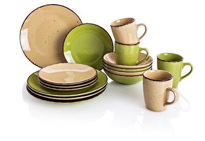 Puro Grün (Kaffeeservice + Tafelservice aus Feinsteinzeug Puro 16 tlg. Grün/Beige)