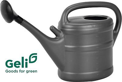 GELI Giesskanne 10l Liter Kunststoff anthrazit grau mit Brause + Halter