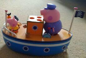Peppa Pig bathtime boat with Grandpa pig & george