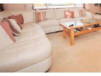 Beautiful cream corner leather sofa