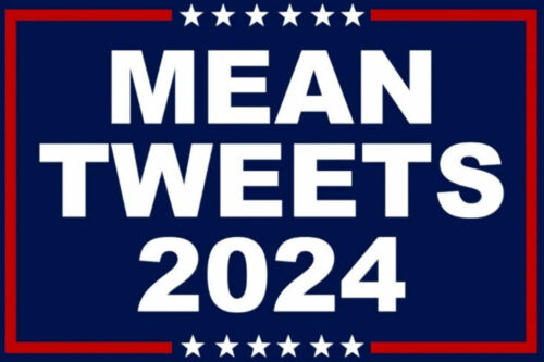 Mean Tweets 2024 Donald Trump President Navy 4x5.5 Inch Vinyl Bumper Sticker