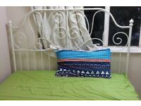 White Ikea LEIRVIK king size bed with Ikea Sultan Hagawik Pocket sprung mattress