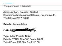 3x James Arthur tickets bournemouth