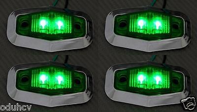 4x 12V LED lato Verde Cornice cromata luci di ingombro