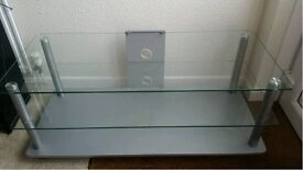 Glass TV stand with 2 shelves and cable tidy holes