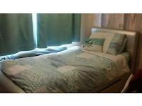 Silver faux leather girls sleigh bed