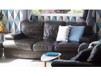 3 seater, brown, leather sofa