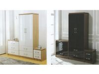 New white or black high gloss Set of 3, robe chest & bedside £219