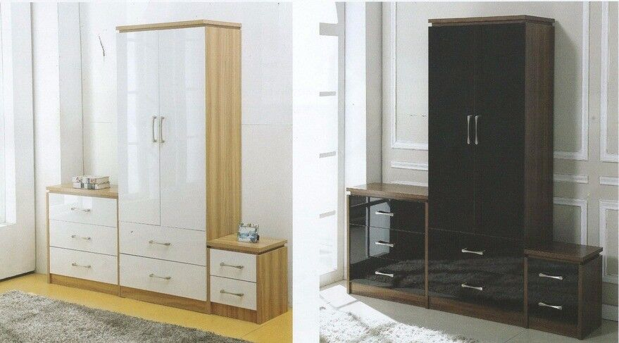 New white or black high gloss bedside £49, chest of drawers £79, wardrobe £129 available today