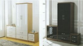 New white or black high gloss bedroom furniture from £49 available today in store