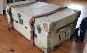 FREE   Antique hide steamer trunk