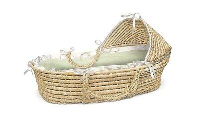 Badger Basket Company Natural Hooded Moses Basket w/Sage Gingham Bedding 874 NEW