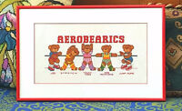 Cross Stitch TEDDY BEARS EXERCISING Framed Picture - AEROBEARICS City of Montréal Greater Montréal Preview