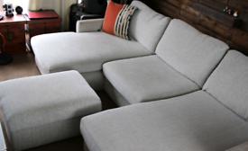 U-shaped sofa convertible into a bed