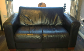 2 Seater And 3 Seater Black Leather Sofas