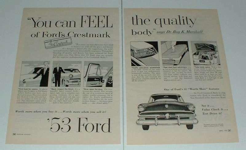 1953 Ford Crestmark Car Ad - Feel The Quality
