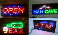 High-Quality OPEN SIGN, ATM, BAR & MANCAVE Signs; Ship FREE☀$44`
