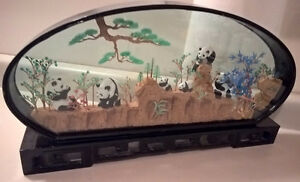 Vintage Asian Japanese Oriental Cork Shadow Box with Panda Bears