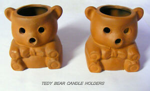 2 Teddy Bear Candle Holders, brown, very small, delightful