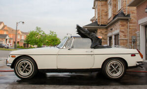 Great looking MGB 1972, white, soft-top convertible.
