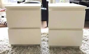 Great Modern WHITE IKEA MALM Bedside Tables PAIR Burwood East Whitehorse Area Preview