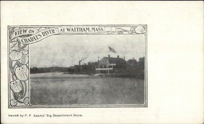 Waltham MA View on the Charles c1900 Private Mailing Card