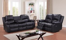 Brand new high quality leather recliner sofa suite 3+2 black or brown