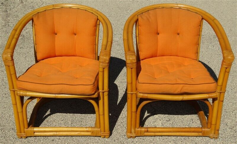 Pair 1950s Mid Century Rattan Barrel Chairs