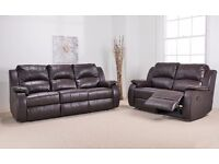 2 X Harvey 3 Seater + 2 Seater Brown Leather Reclining Sofas. Brand New Boxed. Bargain.