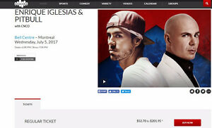 ENRIQUE IGLESIAS and PITBULL tickets BELL CENTRE MONTREAL