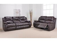 Harvey 3 Seater + 2 Seater Brown Leather Reclining Sofas. Brand New Boxed. Bargain.