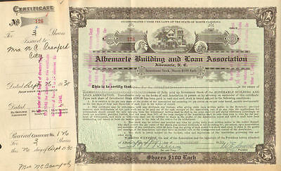 Albemarle Building and Loan Association > 1935 North Carolina stock certificate