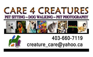 Reliable DOG WALKING - SE Calgary - Care 4 Creatures.