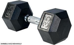 Northern Lights Rubber Hex Dumbbell, 35lbs DBHR035